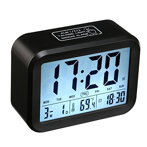 Despertador Digital, CompraFun Reloj Despertador con Alarma Luz de Noche (Negro)