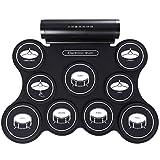 BESTSUGER Portable Drum Pad électronique, numérique Roll-up Touch Kit de Pratique de Tambour Sensible avec 9 Plaquettes marquées 2 pédales de Pied Enfants Enfants débutants