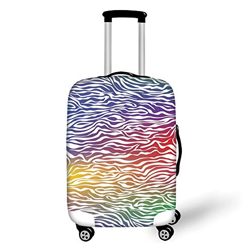 Travel Luggage Cover Suitcase Protector,Zebra Print,Abstract Zebra Skin Pattern Geometric Horizontal Lines Stripes Illustration Decorative,Purple Red Yellow,for TravelL 25.9x37.8Inch -