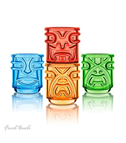 Final-Touch-Tiki-de-vasos-vasos-de-355-ml-Pack-de-4-diseo-de-hawaiano--tk5302