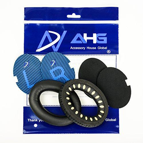 Accessory House Ersatz-Ohrpolsterkissen für Kopfhörer Bose Quiet Comfort 2(QC2), Quiet Comfort 15(QC15) und Quiet Comfort 25(QC25) (QC2/QC15/QC25, schwarz) - 15 Ersatz
