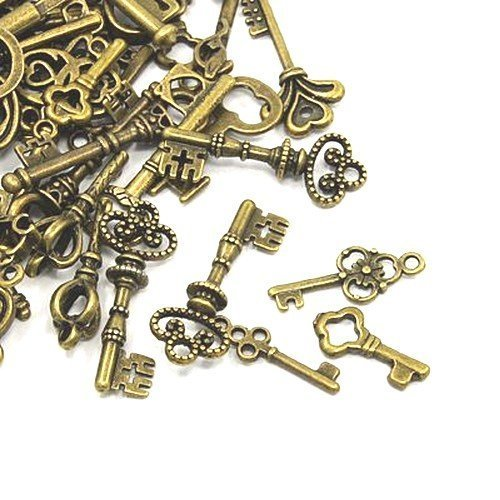 30 Gramm Antik Bronze Tibetanische ZufälligeMischung Charms (Schlüssel) - (HA09360) - Charming Beads