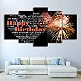 Canvas Painting 5 Piece HD Printed Art Happy Birthday Fireworks Love Heart Wall Pictures for Living Room SJDBF