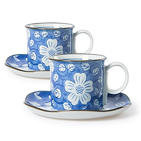 Chinzee Coffee Cups and Saucers Porcelain Breakfast Mugs Set of