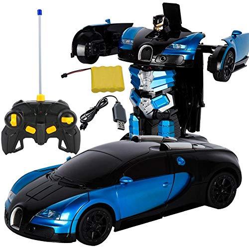 Coche teledirigido que convierte el robot de control remoto, convierte Bugatti Rambo coche robot juguete de coche eléctrico modelo con mando a distancia para Blauer Bugatti