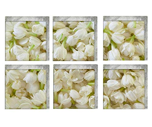 Jiaa 3D Jasmin Blumen PVC Badewanne Aufkleber Rutschfeste Bad Abziehbilder,15cm×15cm,6 Stück (Badewanne Abziehbilder)