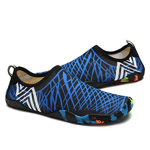 DoGeek Scarpe da Nuoto Water Shoes Scarpe per Sport Acquatici Scarpe Nero Giardini Acqua Scarpe Uomo da Pantofole Spiaggia Pelle Sandali Blu