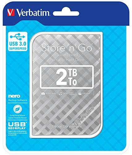Verbatim 53198 2 To USB 3.0 Portable Hard Drive - Argent d'occasion  Livré partout en Belgique