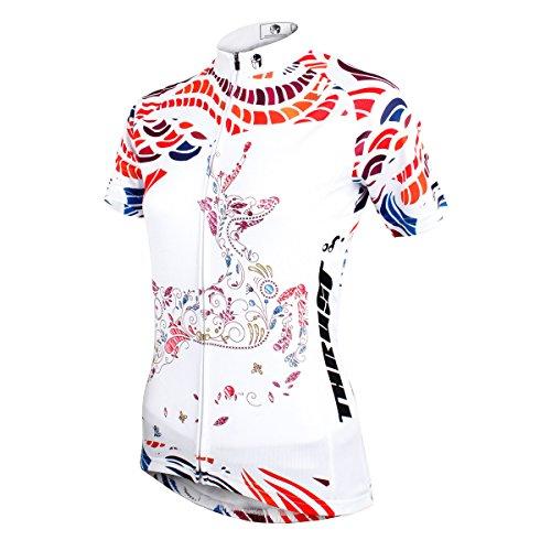 les femmes à vélo à séchage rapide vélo respirant manches courtes en jersey de Deer Deer White-Jersey Only