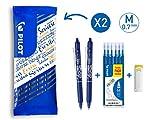 Pilot - Flowpack 2 FriXion Ball Clicker, 1 set de 6 recharges & 1 Gomme - Roller effaçable - Bleu - Pointe moyenne