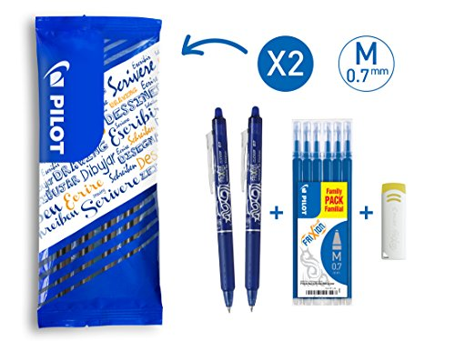 Pilot Spain Frixion Clicker - Set de 6 recargas y 1 goma, color azul