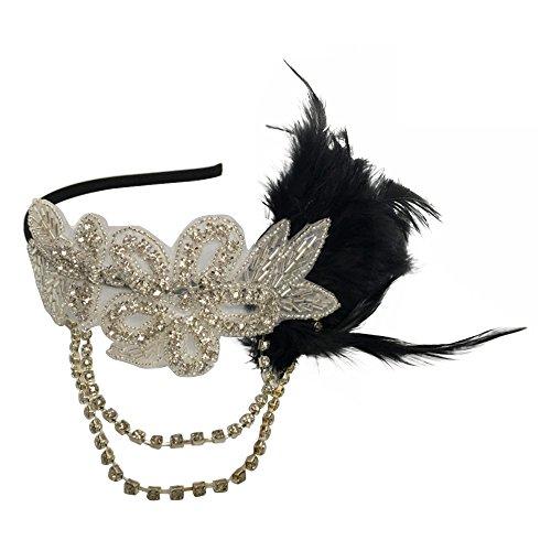 Gosear Frauen Europäischen 1920er Jahre Stil Strass Kette Schwarz Feder Cosplay Hochzeit Party Kostüm Stirnband Haarband Stirnband Haarschmuck (Kostüme Der 1920er Jahre)