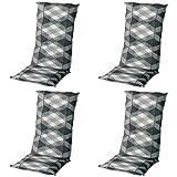 Schwar Textilien Stuhlauflage Hochlehner Gartenstuhlauflage Sitzauflage ca. 8cm Dick 4er Set Grau Weiß