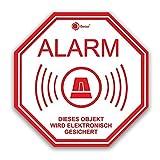 3er Set Alarm-Aufkleber I hin_219 I 10 x 10 cm I Achtung Objekt Wird elektronisch gesichert I für Fenster-Scheibe, Tür I außenklebend