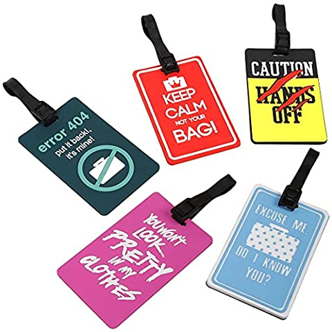 Bundle Monster 5 pc Silicone Mixed Design Travel Luggage Bag ID Tags - Set 1: Hands Off