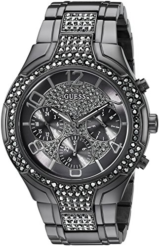 GUESS Women's U0628L5 Sporty Gunmetal Watch with Grey Dial, Crystal-Accented Bezel and Stainless Steel Pilot Buckle