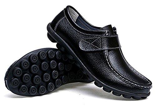 NEWZCERS Frauen weiche treibende Schuhe Rindsleder Leder Klettverschlüsse Loafers Bootsschuhe Schwarz