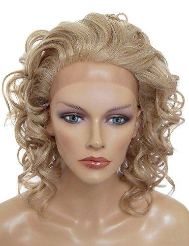 Perruque & xzl Perruques Fashion Avant de dentelle de style mi-longs bouclés résistant à la chaleur perruque synthétique (Blonde)