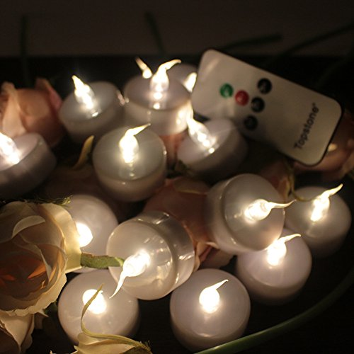 Topstone batería de larga duración con LED Tealight con control remoto y 4 H 6 H 8 H temporizador para la decoración del hogar festivales de temporada, paquete de 12 (blanco cálido)