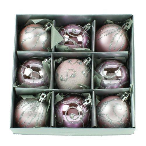 Lot de 9 boules de Noël Rose 6 cm