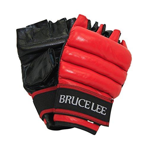 Signature Rot Leder (Bruce Lee Ballhandschuhe Fitness, rot schwarz, S/M)