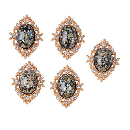 Baoblaze 5 Stück Oval-Cabochon-Kristall Flatback Buttons Knöpfe Hochzeitskleid Verzierungen Strass...