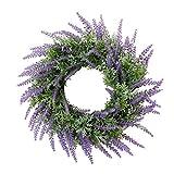 P Prettyia Handgemachter Lavendel Kranz Kunstblumen Kranz Dekokranz für Tür Wand Fenster und Garten - Lila