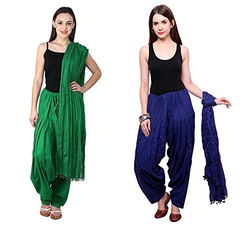 Shanky & Shiney Women Cotton Patiala Salwar With Dupatta Combo (Navy Blue...