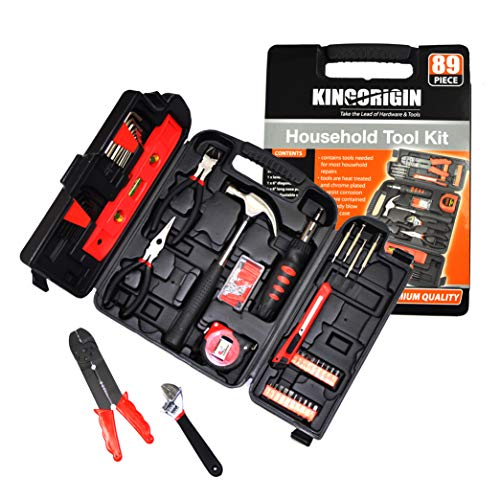KIngOrigin 89 Piece Professional Multi-Tool Kit home repair tool kit tool kit, Home Repair Tool Kit, General Household Tool Kit for Home Maintenance with Plastic Toolbox Storage Case