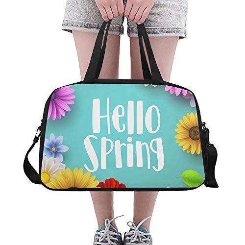 Plosds Frühling Willkommen Saison Große Yoga Gym Totes Fitness Handtaschen Reise Seesäcke Schultergurt Schuhbeutel Für Übung Sport Gepäck Für Mädchen Männer Frauen Outdoor