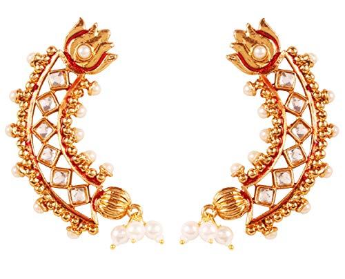 NEU! Touchstone Bollywood Maharani Manikarnika Kanga Ranaut Fame meisterhaft gefertigtes Lotus Halbmondmotiv Kundan Faux Ruby Meenakari Designer Schmuck Lange Royal Ohrringe in Goldton für Damen. Royal Ruby