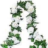Ksnrang Rose Artificielle Vignes Faux Fleurs De Soie Rose Guirlandes Suspendues Rose Lierre Plantes pour Mariage Maison Arche Arrangement Décoration (2 pièces, 9 Fleurs - Blanc)