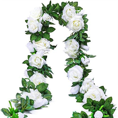Ksnrang Künstlich Rosen Blumengirlande Kunstblumen Seidenblumen Gefälschte Blumen Rose Girlande Hängend Rebe für Zuhause Wand Hochzeit Bogen Anordnung Dekoration (2 Stücke, 9 Blumen-Weiß)