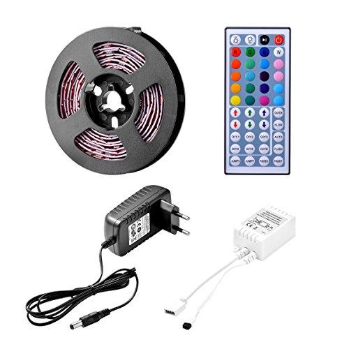 Sunix® LED Streifen Set, 2M Strip lights mit 60 RGB LEDs (SMD 5050) , DIY-Beleuchtung, Nicht Wasserdicht, Inklusive Netzteil 12V 2A und 44 Tasten IR-Fernbedienung, LED Lichtband