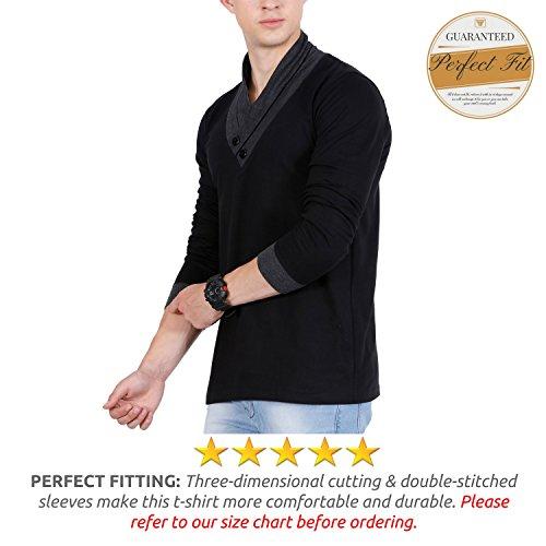 41e2fdf49323 ... Stylish V-Neck Cotton Grey Black (FF009). Sale. Fashion-Freak-Full- Sleeves-T-Shirt-for-Men-