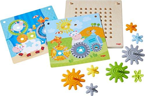 HABA 303869 - Zahnradspiel Tiere unterwegs   Motorikspielzeug mit 4 verschiedenen Hintergrundbildern und bunten Zahnrädern zum Zusammenstecken   Spielzeug ab 2 Jahren