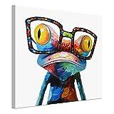 UNIQUEBELLA 50*50 LEINWAND BILDER! FERTIG AUFGESPANNT Leinwandbilder Abstrakte Modern Cartoon Frosch Tier Ölbild auf Leinwand Wandbild