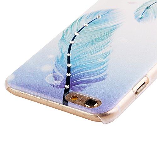 Ukayfe Ultra Slim Hard Plastica Custodia Protettiva Shell Case Cover per iphone 6 Plus, Scarpe col tacco alto Painted Intarsiato Lucido Diamante di Scintillio Assorbimento egli urti della Copertura de Piuma