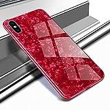 Yobby Coque pour iPhone XS Max 6.5 Pouce,Coque en Verre Slim Paillette Rouge...