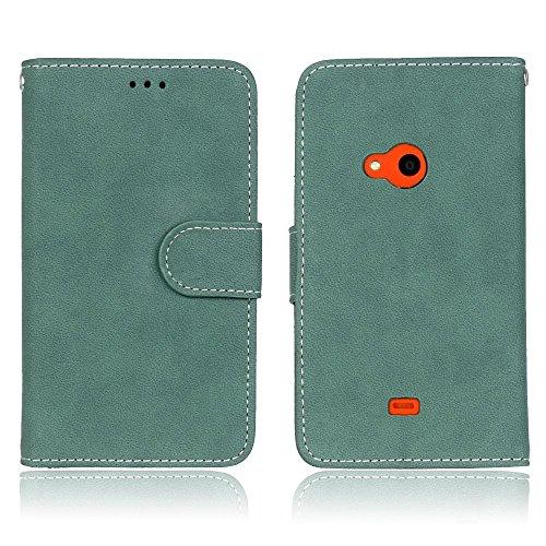 Solid Color Premium PU-Leder Tasche Cover matt Retro Flip-Ständer Case Wallet Fall mit Kartensteckplätze Photo Frames für Nokia Microsoft Lumia 625 ( Color : 2 ) 4