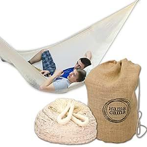 Hamacama Classic NATURAL Netzhängematte + kostenloser Tragtasche / Optimal für bis zu 2 Personen (160 kg) und Körpergrößen bis 205 cm / Handmade in Mexiko