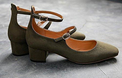 chaussures rétro nouvelle boucle à tête carrée bouche peu profonds de chaussures femme rude avec Green