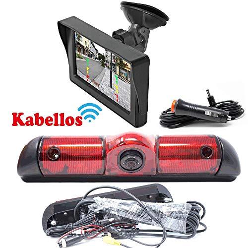 Rückfahrkamera Kompatibel mit FIAT Ducato, Peugeot Boxer & Citroen Jumper Bremslicht inkl. Autoscheibe Monitor - Bis zu 5 Jahre Garantie, Hinten Heck Rear View Camera Kamera Rear View Kamera Monitor