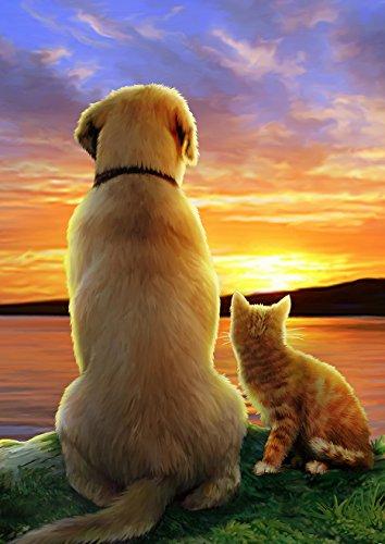 Toland Home Garden Sunset Pals 31,8x 45,7cm Deko Süße Katze Hund Garten Flagge