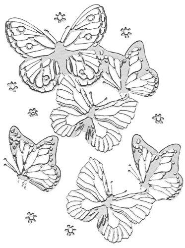 Rayher 3358422 Klebemotiv 3D: Schmetterlinge, Bogen 10x24,5 cm, silber
