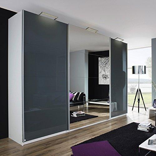 Kleiderschrank »BELUGA PLUS« 405cm alpinweiß, Hochglanz lavagrau, Spiegel 236cm