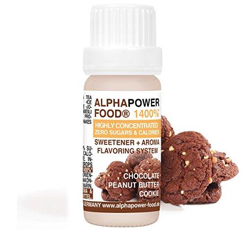 Alphapower food aroma alimentare 1400%* liquido - gocce aromatizzanti e dolcificante senza zucchero,1x10ml aromi alimentari concentrati, biscotto al burro di arachidi al cioccolato - gusto delizioso