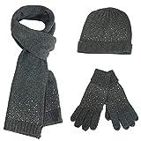 Feoya Damen 3 teiliges Winter Set mit Strickmütze Schal Handschuhe Verdickt Gestrickt Beanie Kappe Hut