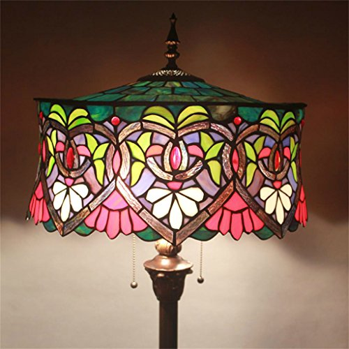 Get 18-Inch Tiffany Rose European Retro Living Room Bedroom Villa Bar Study Classical Personality Colored Glass Decorative Floor Lamp Review