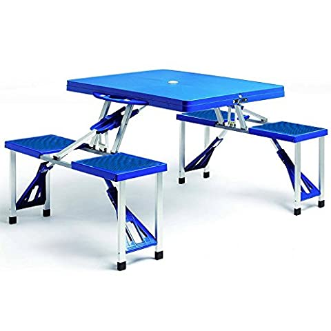 Camping Picnic Table Blue Table and Bench Set - Outside Foldable Dining Table with Seats